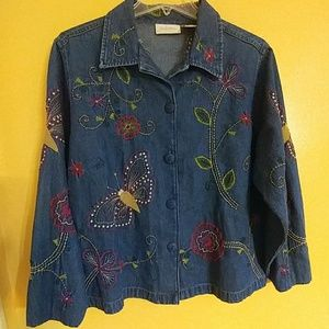 🎈BUTTERFLY Denim Jean Jacket L Large